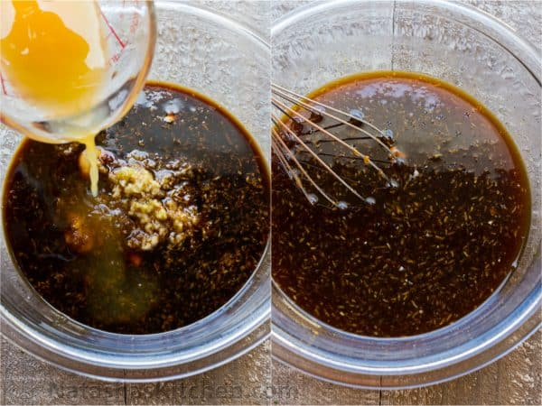 Two photos of bowls and a marinate being mixed in them