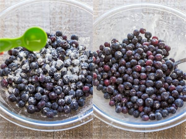 Two photos of bowls with blueberries being mixed with powdered sugar