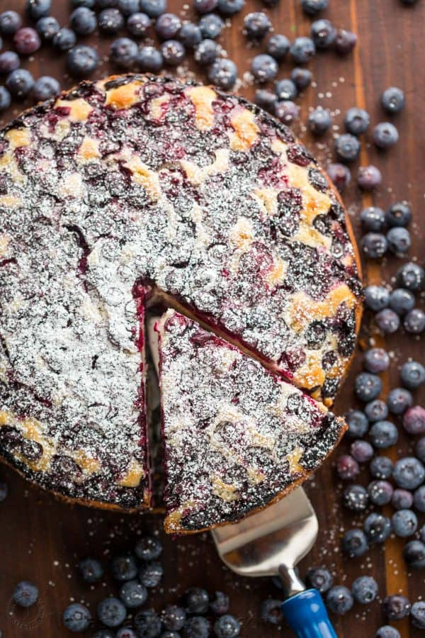 Moist and soft Blueberry Lemon Cake. A blueberry cake with blueberries inside and out
