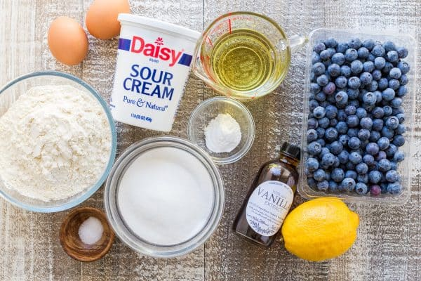 Ingredients for making lemon blueberry cake recipe