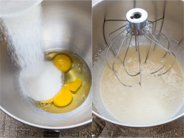 Two photos of mixing bowls with the batter for a blueberry lemon cake
