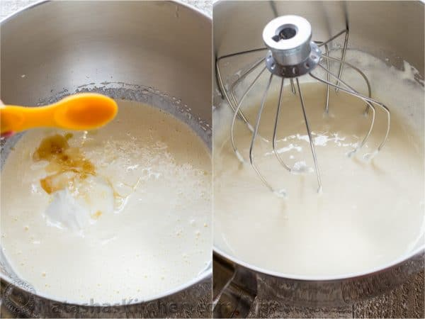 Two photos of vanilla extract added to batter for blueberry lemon cake and then being mixed