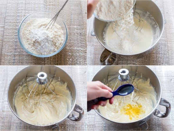 Four photos of flour being added into a mixing bowl with batter for blueberry lemon cake