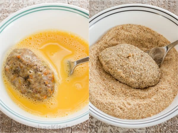 Two photos of a buckwheat and mushroom croquette being put through an egg wash and breadcrumbs