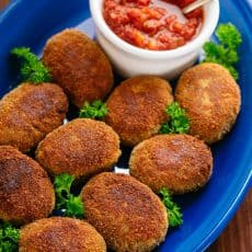 Buckwheat and Mushroom Croquettes have a crisp exterior and hearty, flavorful center. You won't be able to stop at just one! Serve with your favorite sauce. | natashaskitchen.com