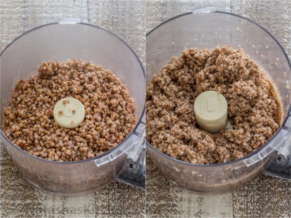 Two photos of a food processor with buckwheat in it