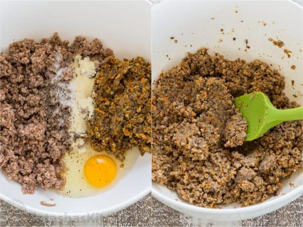 Two photos of bowls with a mixture for buckwheat and mushroom croquettes