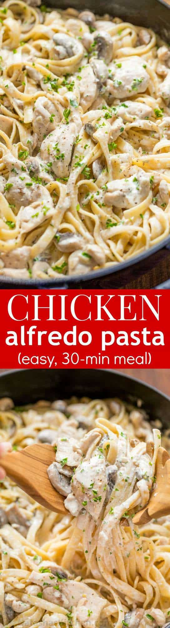 Mom's creamy Chicken Fettuccine Alfredo has been a family favorite for years! Classic Chicken Alfredo is a feel good comfort food - so creamy but light! | natashaskitchen.com