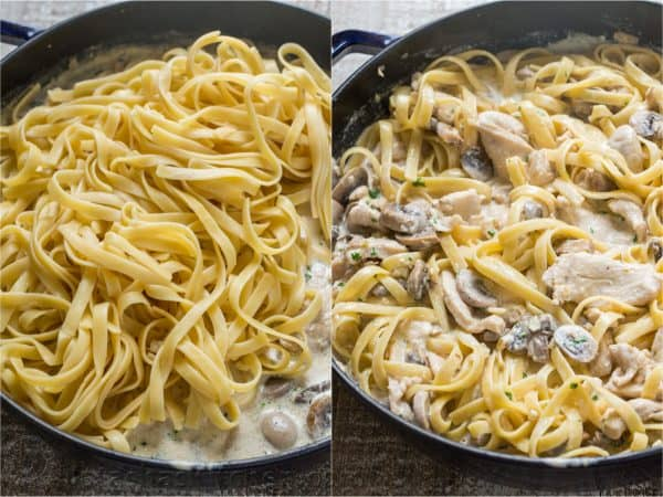Creamy alfredo sauce with fettuccine noodles added