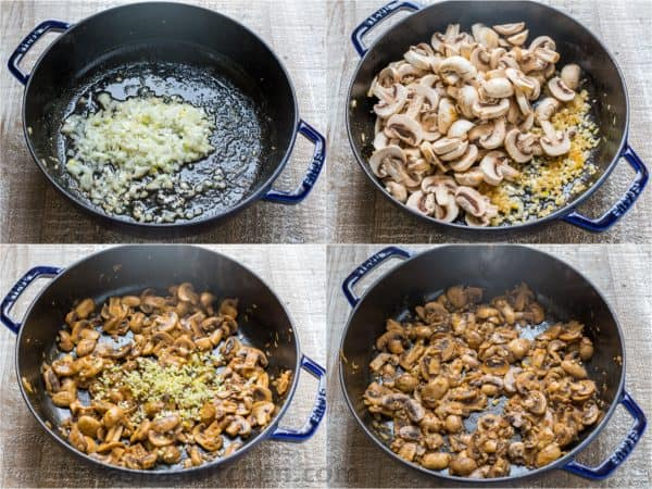 Step by step photos of cooking mushrooms in skillet for alfredo sauce