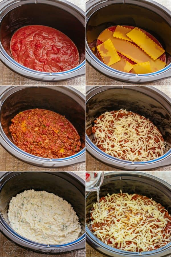 How to make slow cooker lasagna layering sauce, pasta, meat sauce, cheese sauce and shredded mozzarella