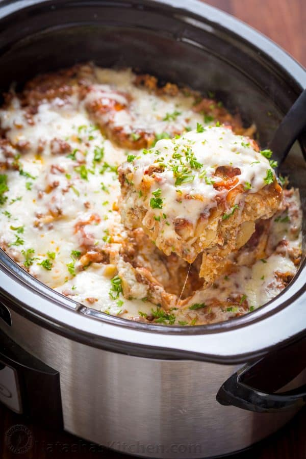 Slow cooker lasagna made in the crockpot and garnished with parsley