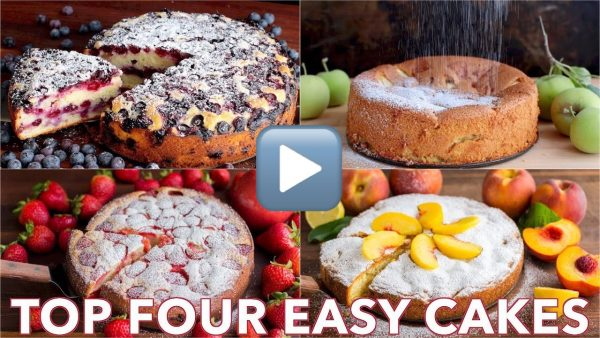 A screenshot of four photos that says top four easy cakes