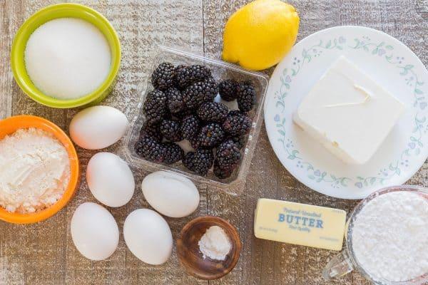 Ingredients for blackberry lemon cake roll on the table