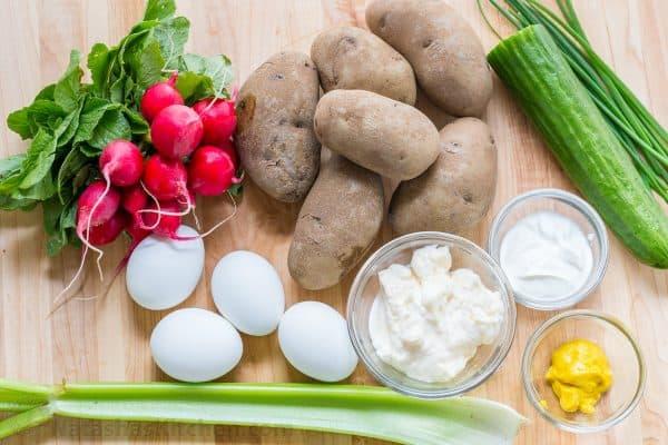 Ingredients for potato salad with potatoes, radish, egg, cucumber, celery and potato salad dressing