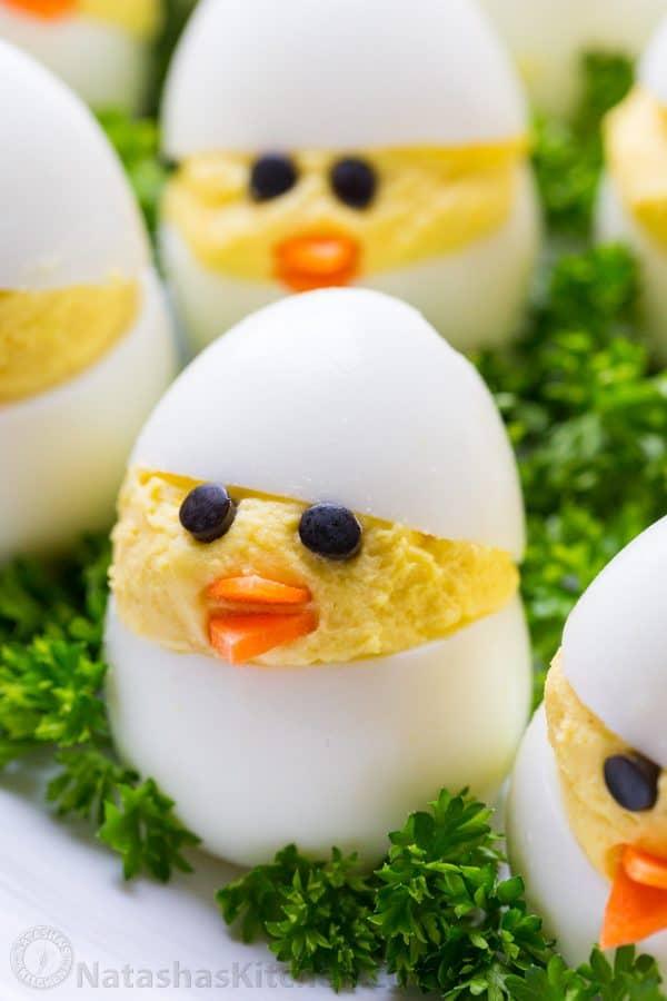 Easter Egg Recipe - Deviled Egg Chicks - NatashasKitchen
