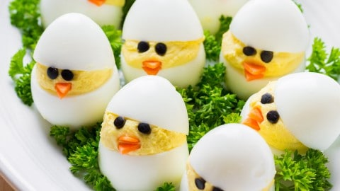 Easter Egg Recipe - Deviled Egg Chicks - NatashasKitchen.com