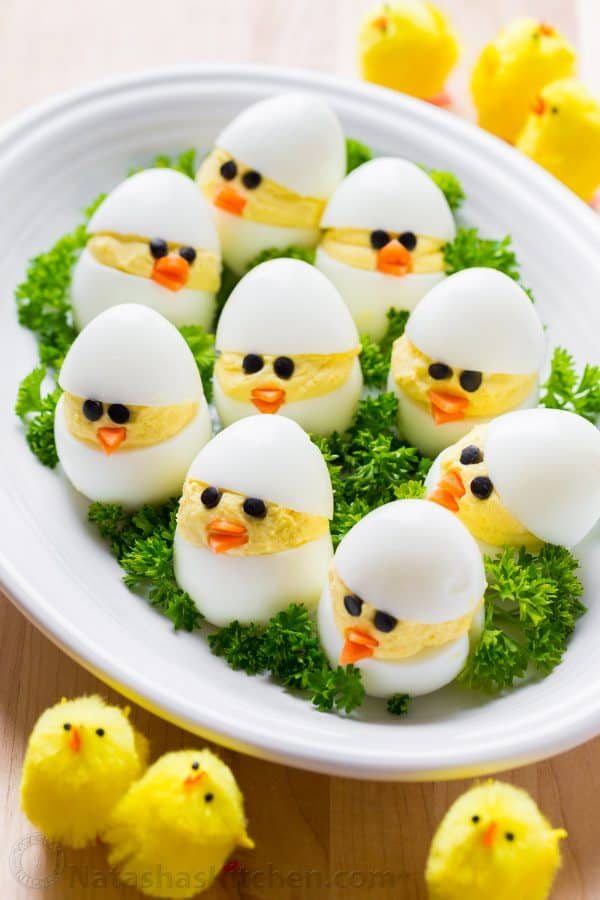 Easter Egg recipe for deviled egg chicks, Easter egg chicks, stuffed eggs chicks