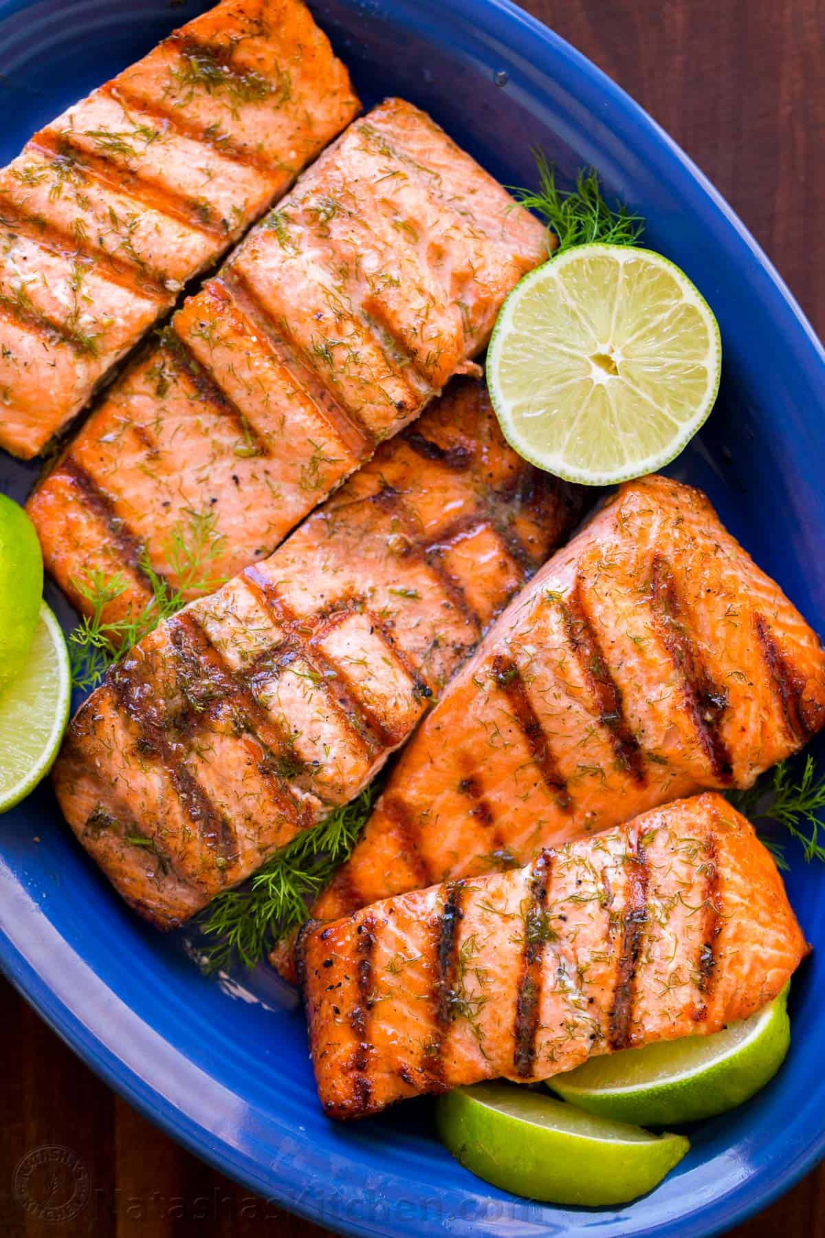 Grilled Salmon with Garlic Lime Butter - NatashasKitchen.com