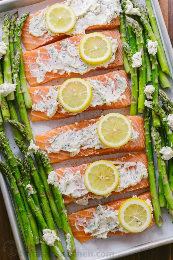One Pan Salmon Asparagus Recipe Video Natashaskitchen Com