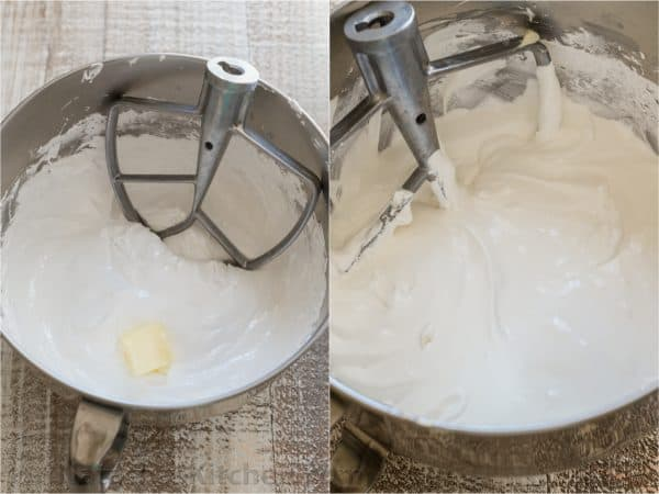 Two photos of Swiss Meringue Buttercream in a mixing bowl