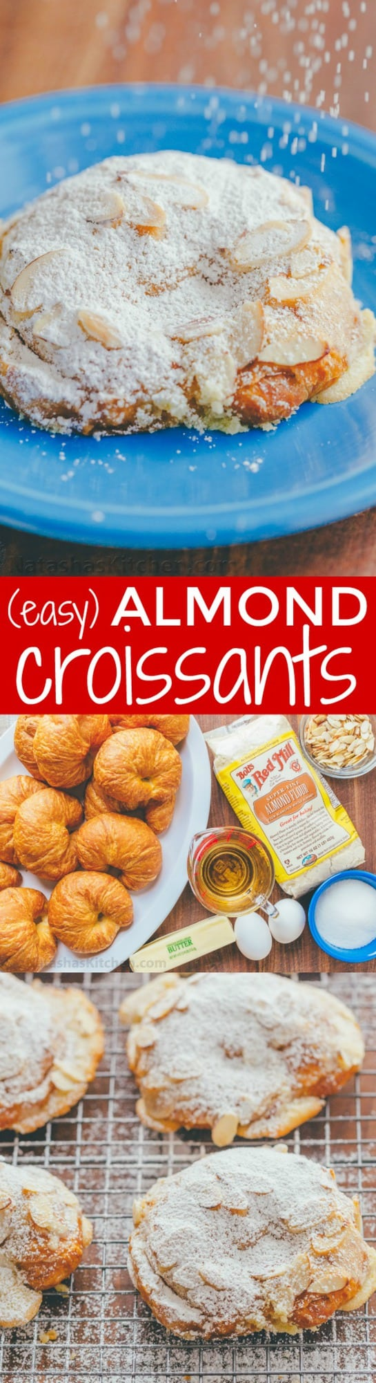 Easy Almond Croissants with crispy edges, crunchy nuts, and moist inside. Watch the video recipe for almond croissants. Melt-in-your-mouth delicious! | natashaskitchen.com