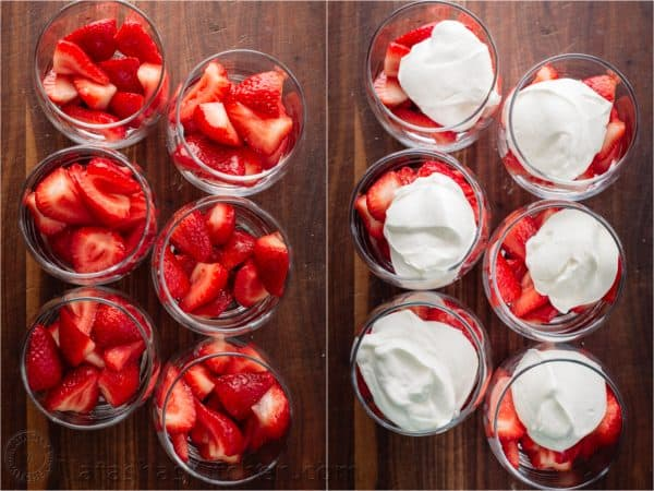 Strawberries Romanoff is a no-bake, easy, luscious summer dessert. Strawberries Romanoff feels fancy but it is simple to make and perfect for parties! | natashaskitchen.com