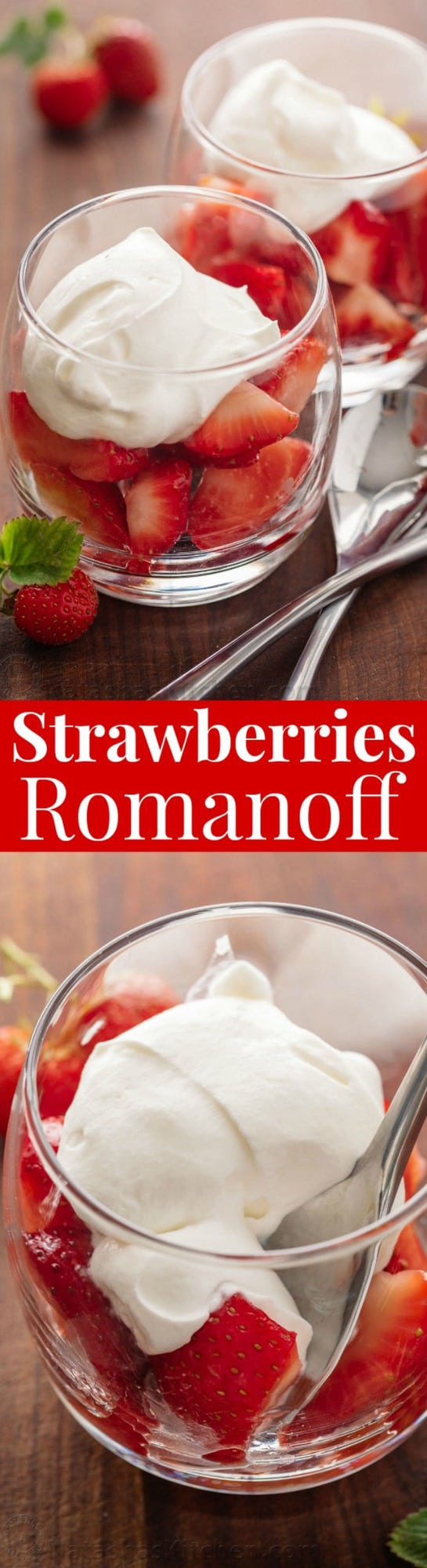 Strawberries Romanoff is a no-bake, easy, luscious summer dessert. Strawberries Romanoff feels fancy but it is simple to make and perfect for parties!   natashaskitchen.com