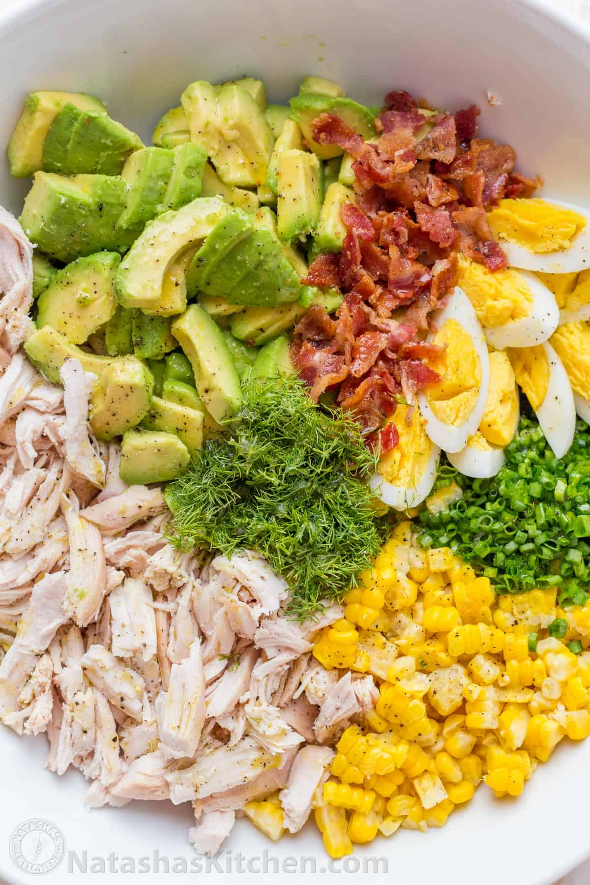 chicken avocado salad in bowl