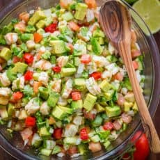 This Avocado Shrimp Salsa is a party favorite! Loaded with shrimp, avocado and a surprising ingredient! Easy, excellent avocado shrimp salsa video recipe. | natashaskitchen.com
