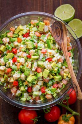 This Avocado Shrimp Salsa is a party favorite! Loaded with shrimp, avocado and a surprising ingredient! Easy, excellent avocado shrimp salsa video recipe.   natashaskitchen.com