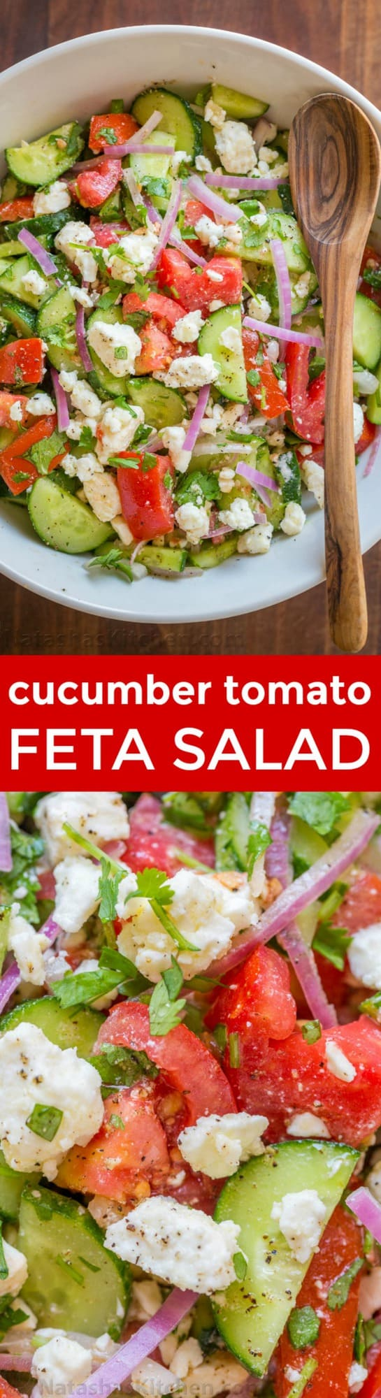 This Tomato Cucumber Feta Salad has simple ingredients that are a winning combination. Refreshing and flavorful! A new favorite cucumber tomato feta salad! | natashaskitchen.com