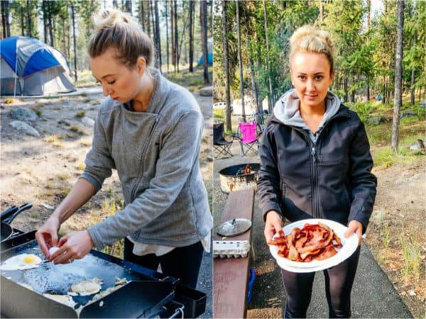 Two photos one of a woman at a flat top and one of her holding a plate of bacon