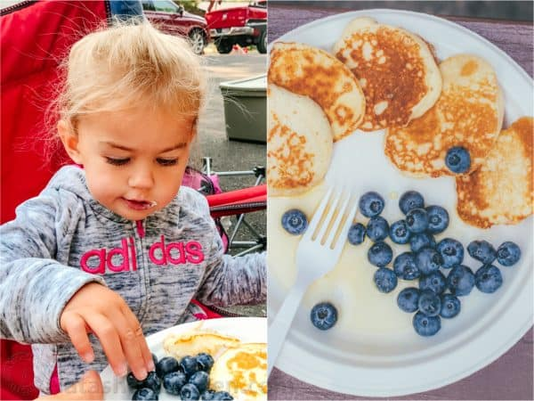 Two photos one of a girl eating and one of a plate with pancakes and blueberries