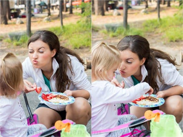 Two photos of Natasha making silly faces at her daughter while holding a plate