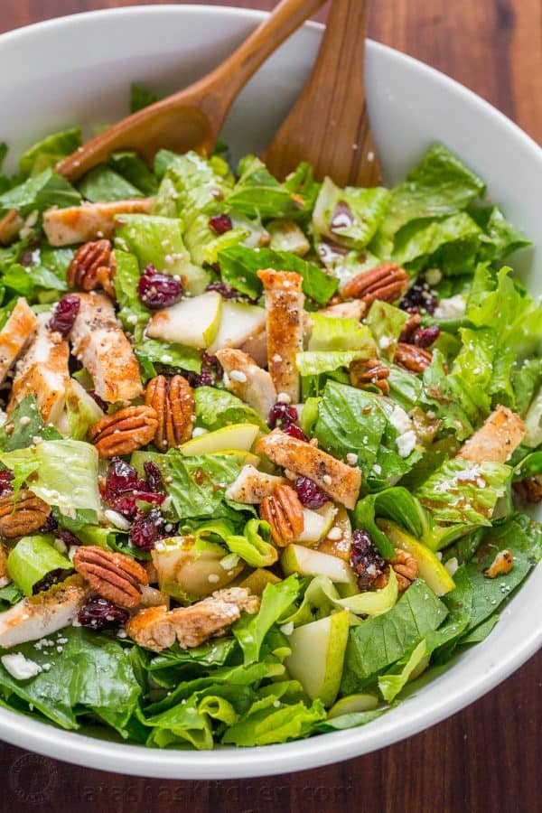 Autumn Chopped Chicken Salad is a Fall Chicken Salad with pears, craisins, pecans, feta and chicken drizzled with easy balsamic vinaigrette