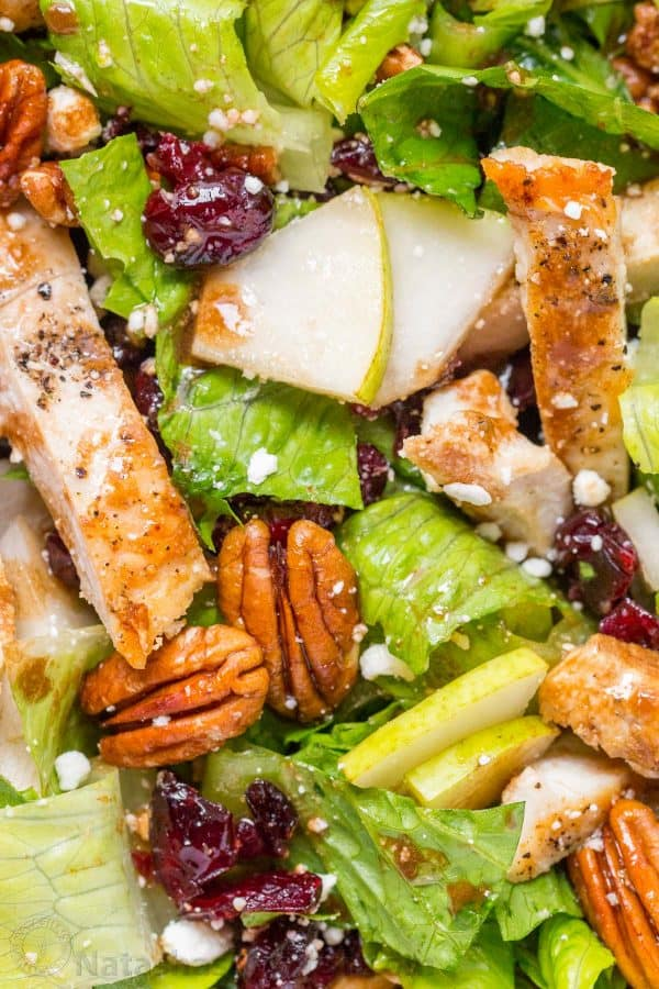 Fall Chicken Salad Recipe tossed with balsamic Vinaigrette