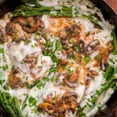 Chicken Madeira with juicy chicken and mushrooms in a creamy sauce with melty cheese... Creamy Chicken Madeira is a Cheesecake Factory copycat recipe! | natashaskitchen.com