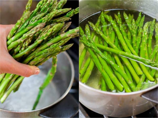 Two photos one of someone holding asparagus and one with asparagus in a pot with water