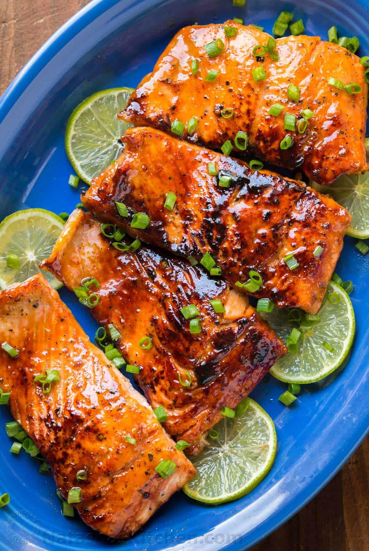 Honey Glazed Salmon Recipe Natashaskitchen Com