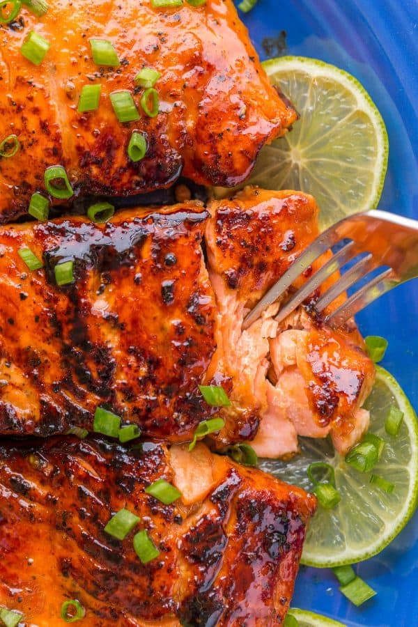 Sauteed Honey-Glazed Salmon is juicy, flaky, easy and so satisfying! Squeeze fresh lime juice over this pan fried honey glazed salmon and serve white rice.   natashaskitchen.com