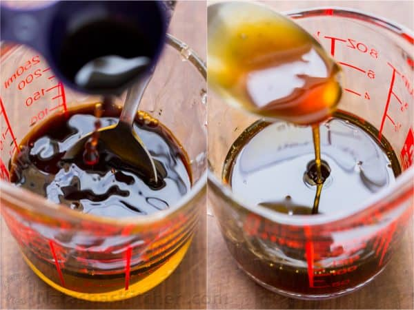 Two photos of a honey glaze being mixed in a measuring cup