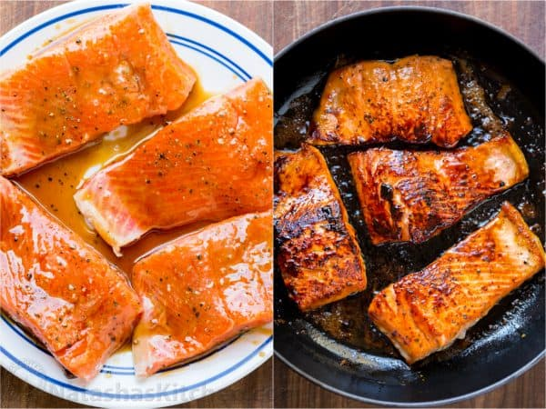 Saute Salmon On The First Side For 3 Minutes Turn And Sauté Second Another Glaze Should Be Caramelized Just Cooked