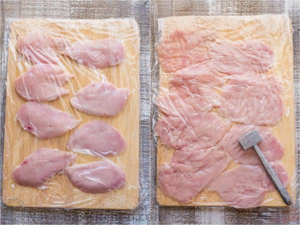 Two photos of chicken on a cutting board covered in silicon wrap and a meat hammer in one photo