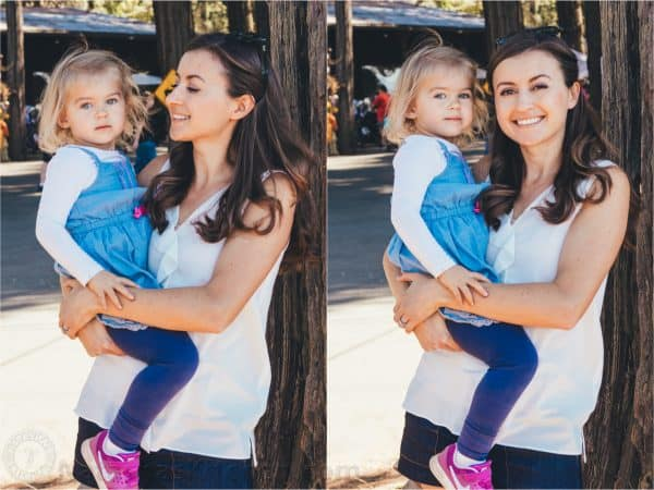 Two photos of Natasha holding her daughter and smiling
