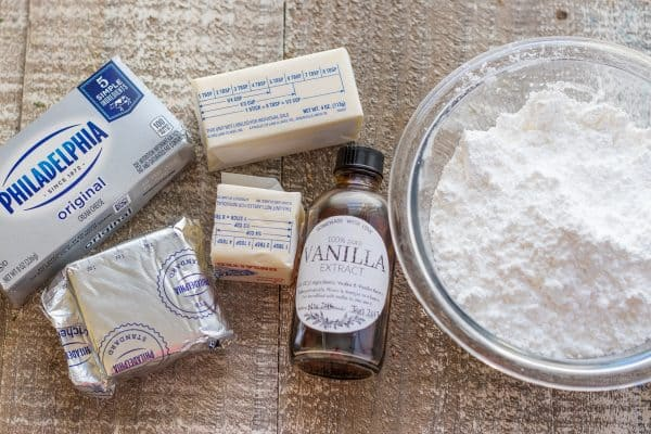 Ingredients for cream cheese frosting