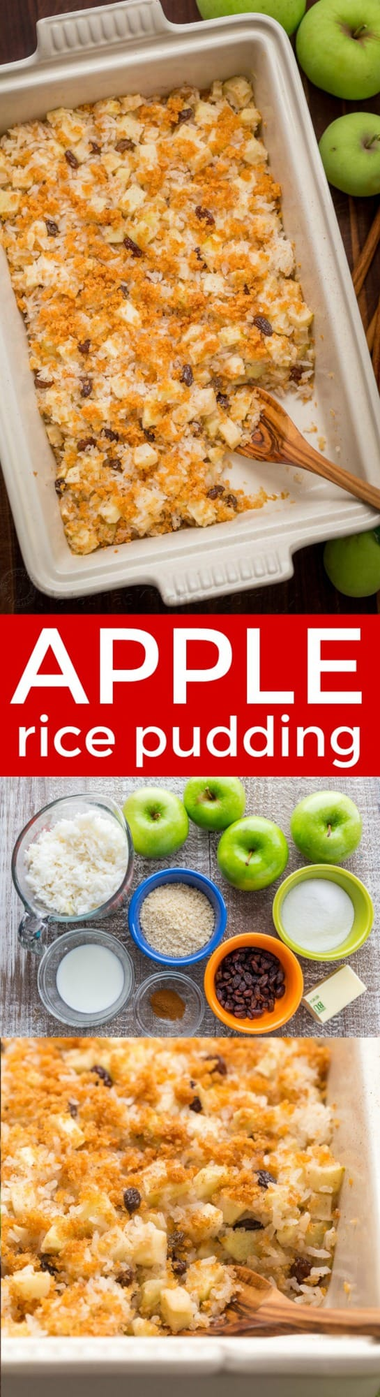 Apple rice pudding is Autumn comfort food. It is loaded with apples, cinnamon and a browned butter crunchy topping. A great way to use leftover white rice! | natashaskitchen.com