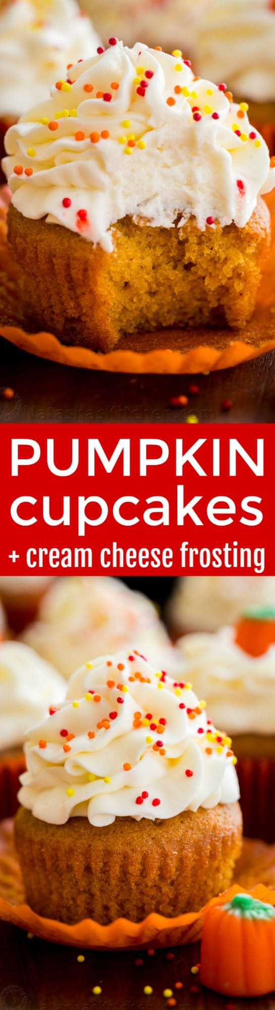 The only pumpkin cupcakes recipe you need! Moist, melt-in-your mouth soft pumpkin cupcakes. Cream cheese frosting is easy and tastes like marshmallow cream. | natashaskitchen.com