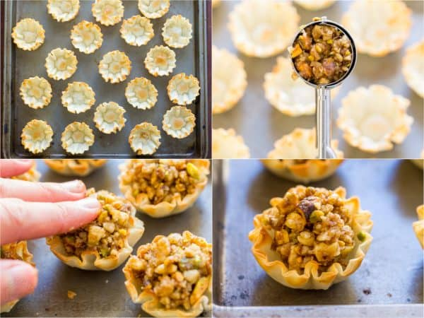 Four photos of baklava cups being put together
