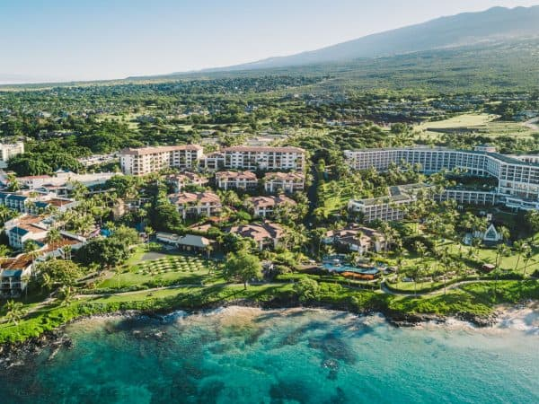 A bird\'s eye view of hotels on a lush green mountainside near the water